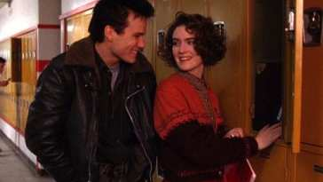 Donna and James outside the lockers at school