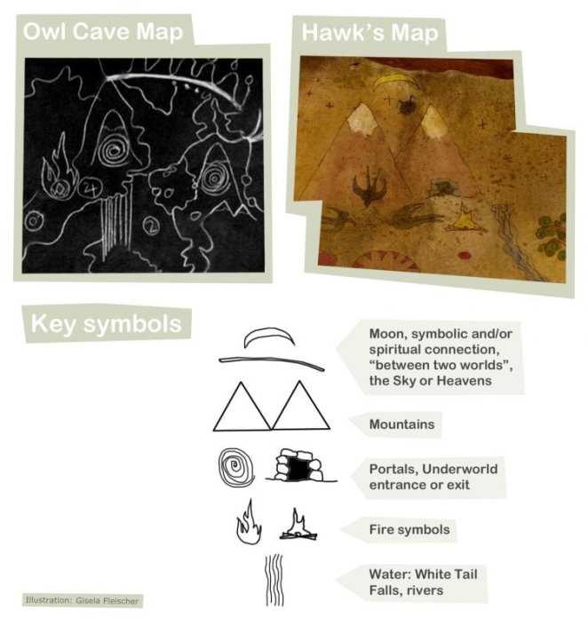 Twin Peaks owl cave and Hawks map symbols