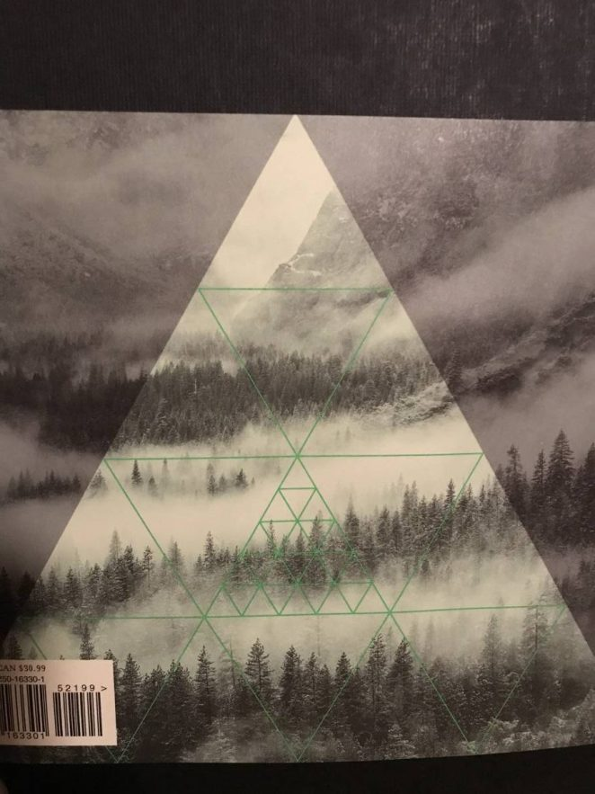 The back cover image is of Twin Peaks trees from above with fog rolling through them. There is a lighter triangle shape superimposed over the top.