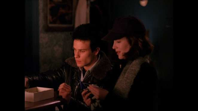 James Hurley and Donna sneak around Dr Jacobys apartment at night