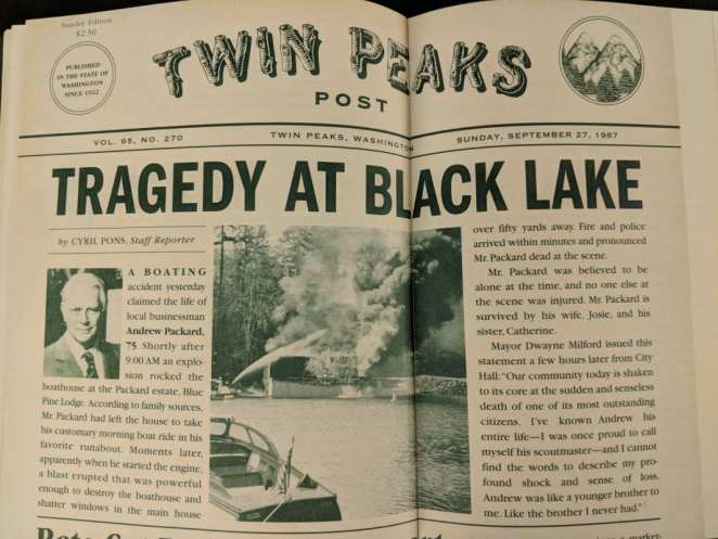 """Photo of the book that outlines a Twin Peaks Post article about Andrew Packard's """"death"""""""