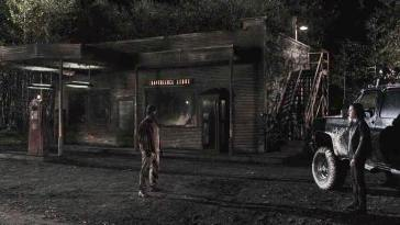 Anthony Marcacci playing a woodsman outside the convenience store at night
