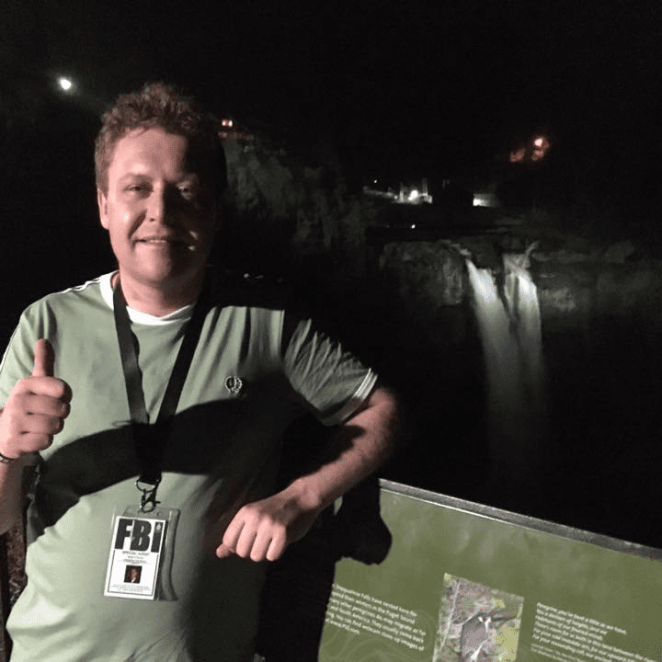 Mark standing near Snoqualmie Falls during the 2017 Twin Peaks Festival
