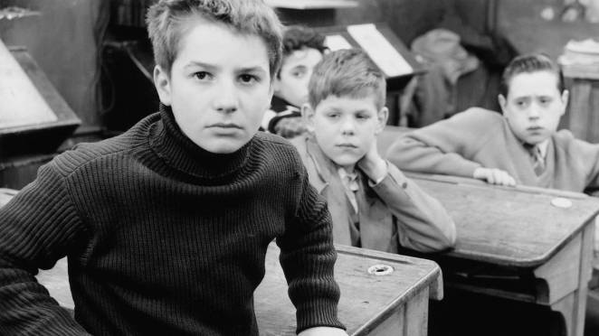 boys in a classroom staring at the photographer in the 400 blows