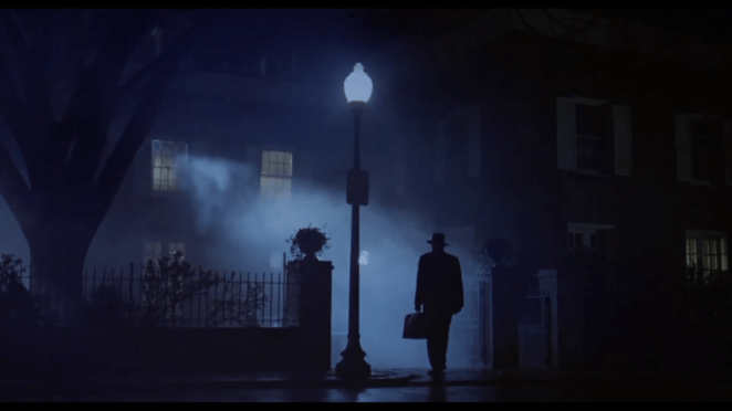 Iconic image of The Exorcist, a silhouette of a man entering a house with a possessed girl inside
