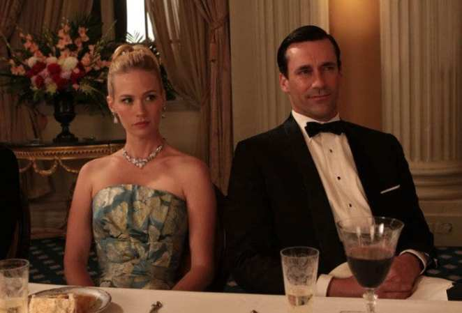 Don and Betty Draper at a black tie event