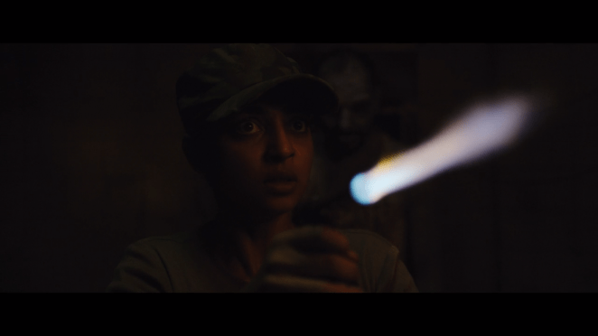 a female army officer with a blow torch