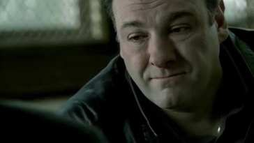 Tony Soprano looking rueful