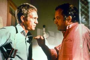 Peter Yates and Steve McQueen during the filming of Bullitt.