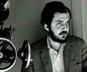 Stanley Kubrick directs one of his famous films.