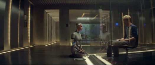 Ava and Caleb, separated and encaged in Ex Machina