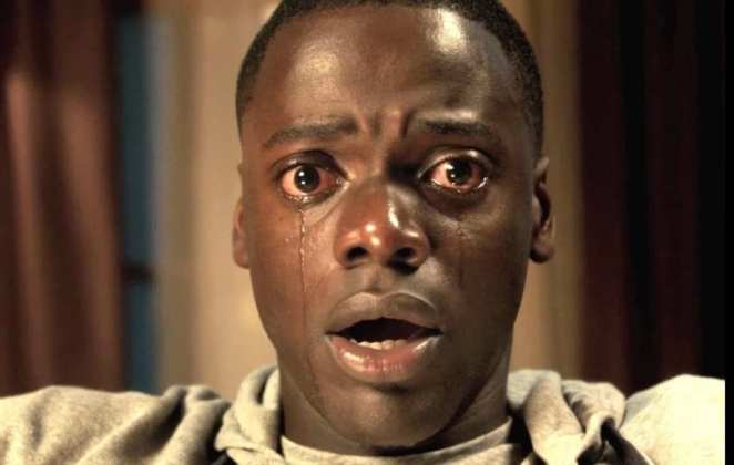 a man cries with fear in get out