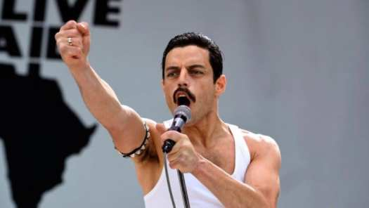 Malek as Freddie Mercury during Live Aid