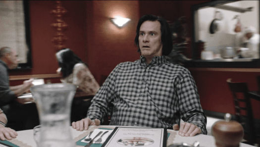 Jeff's (Jim Carrey) table begins to spin uncontrollably, alternating between the past and present, in episode 9 of Showtime's KIDDING.
