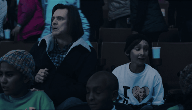 Jeff (Jim Carrey) and Brian (Jaeden Bettencourt) react to the horror on the ice in episode 9 of Showtime's KIDDING.