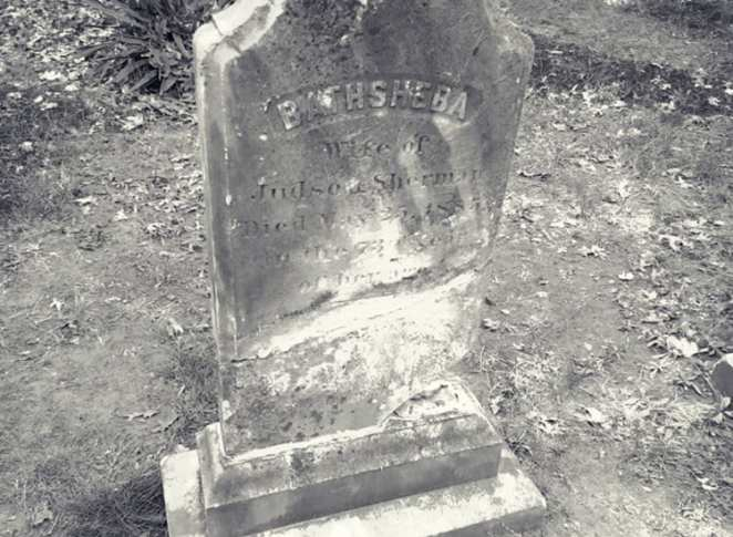 Grave stone of the real Bathsheba Sherman who was portrayed to be a witch in The Conjuring film