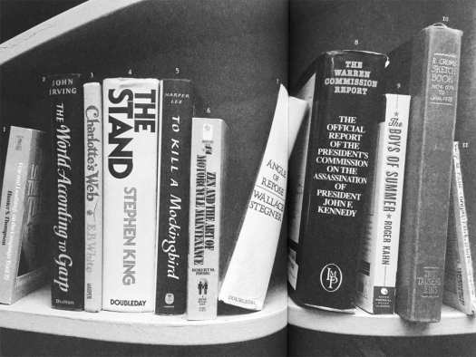 The bookshelf of the Twin Peaks Bookhouse, as displayed in Secret History of Twin Peaks.