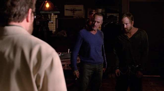 "Walter White, Jesse Pinkman, and Jack Welker in the Breaking Bad series finale ""Felina"""