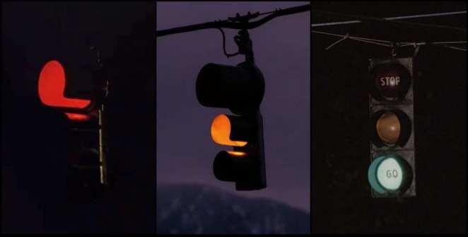 Traffic lights, swinging like wind chimes in Twin Peaks
