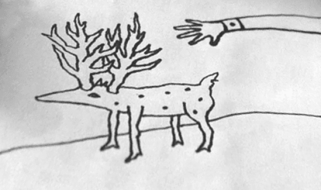 the arm in the drawing looks like its going to yank the deer like creature off the page