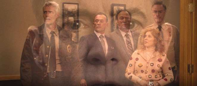 Coopers face superimposed over Bobby, The Mitchums, Lucy and Andy in the Sheriffs station