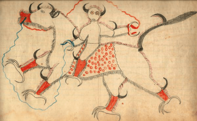 haokah drawing on ledger paper by Black Hawk , c. 1880. Note the electricity, teeth, yellow eyes