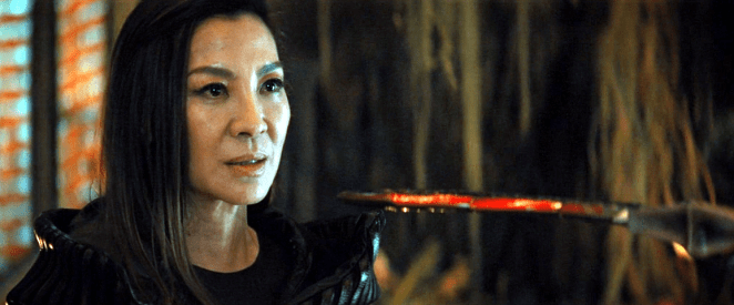 Michelle Yeoh as Philippa Georgiou held at sword point