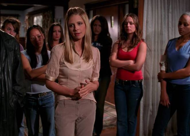 Buffy gives advice to the potential next Slayers, in the finale episode