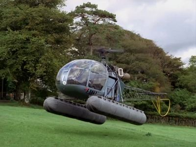 Number 6 makes his escape from the Village in a helicopter.