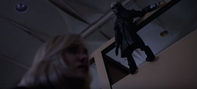 Even the lovely Barbara Crampton is harassed by the vengeful puppets in Puppet Master: The Littlest Reich