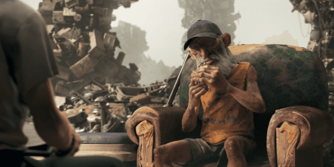"""""""The Dump"""" from Love, Death & Robots, as Ugly Dave goes to light his cigarette"""