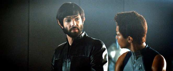 "Spock (Ethan Peck) comforts Burnham (Sonequa Martin-Green) after she learns about her parents' death in Star Trek: Discover ""The Red Angel"""