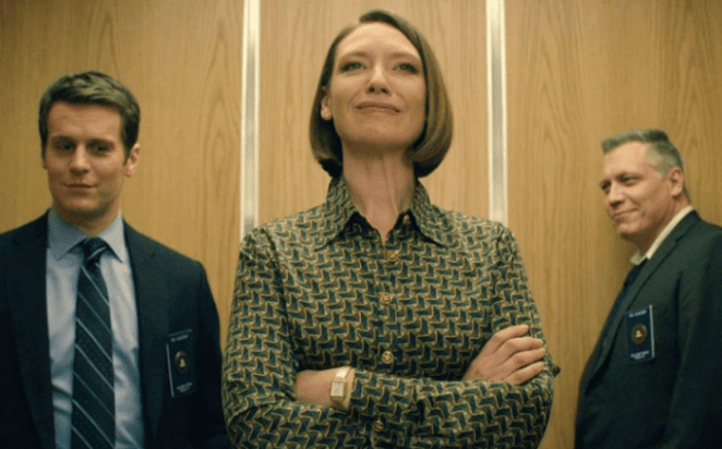 Wendy Carr (Anna Torv), Holden Ford (Jonathan Groff) and Bill Tench (Holt McCallany) smile after the Behavioral Science Unit receives funding to proceed with their research