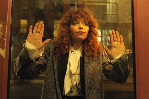 Nadia trying to get in to Alan's appartment in Russian Doll.
