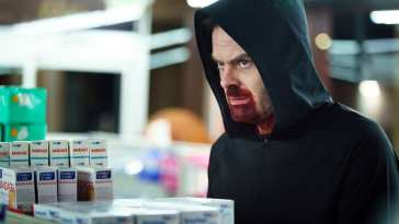 Barry's latest victim is in the grocery store, still ready to fight even though Ronny's windpipe is comically broken.