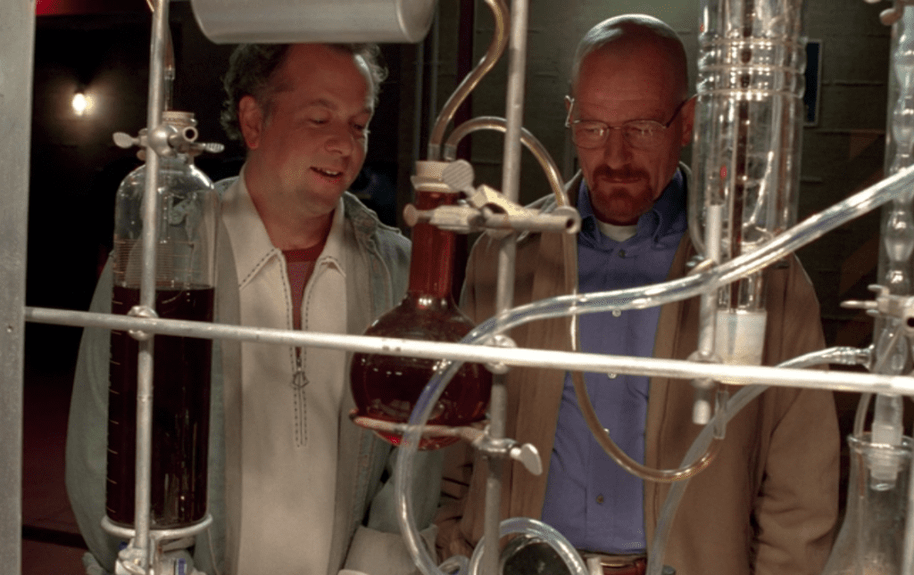 Gale and Walt in the superlab in Breaking Bad