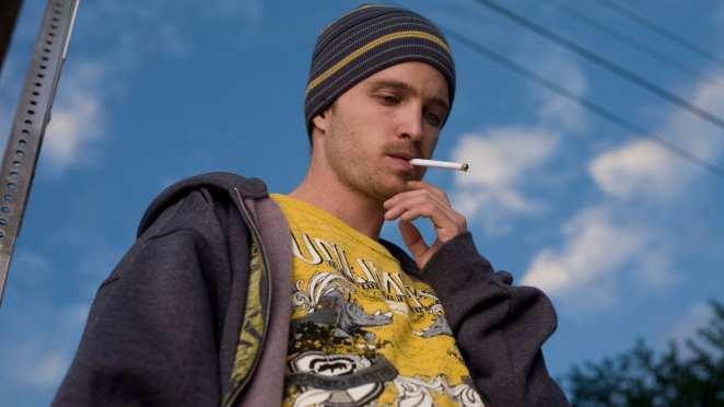 Jesse Pinkman smoking in Breaking Bad