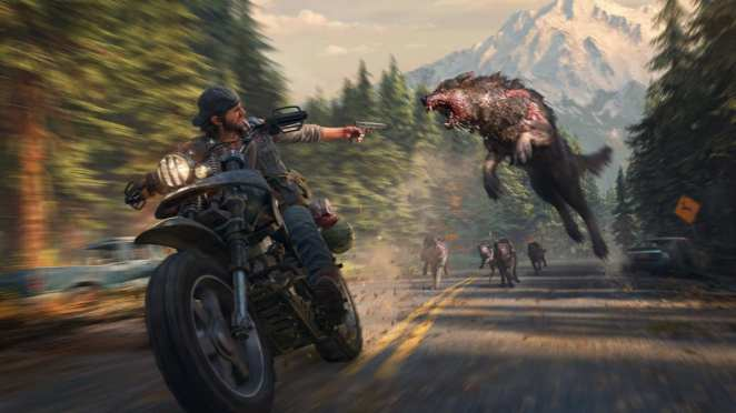 Deacon St John fighting an infected wolf in the PS4 exclusive Days Gone