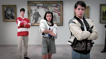 Ferris, Sloane, and Cameron posing in Ferris Bueller's Day Off