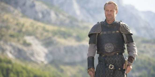 Ser Jorah Mormont stands in front of mountains in HBO's Game of Thrones