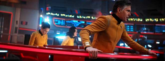 """Captain Pike on the bridge of the Enterprise in the Star Trek: Discovery Season 2 finale """"Such Sweet Sorrow"""" Part 2."""
