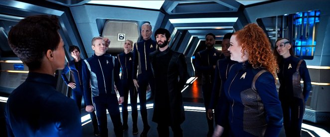 "The crew of the USS Discovery stands united with Michael Burnham (Sonequa Martin-Green) in Star Trek: Discovery Season 2 episode 13 - ""Such Sweet Sorrow"""
