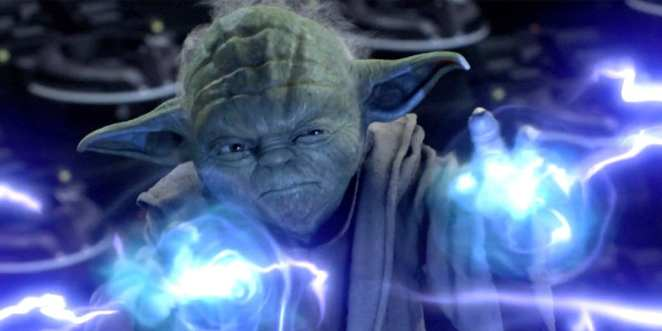 Yoda fires some electrical force