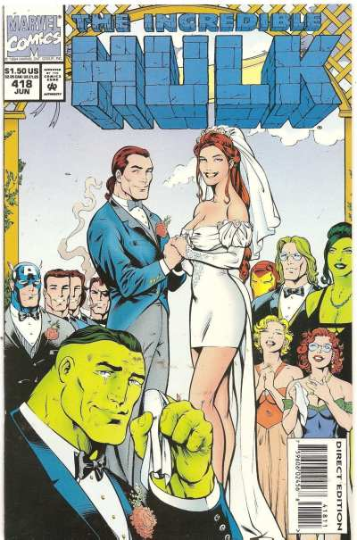 Rick and Marlo's wedding in Incredible Hulk 418 cover is drawn by Gary Frank.