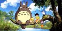Totoro on tree branch over river with Satsuki and Mei fishing