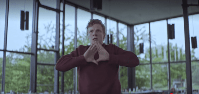 Steve stands up to do the movements in response to a school shooter in the finale of Part 1 of The OA on Netflix