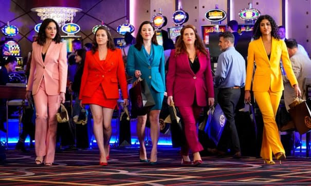 Valencia, Rebecca, Audra, Paula and Heather walk in a line