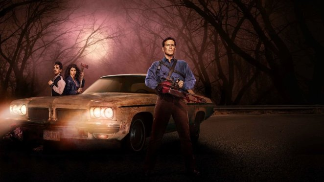 Bruce Campbell, Keely Dana DeLorenzo and Ray Santiago in a promo image for the first season of Ash vs Evil Dead.