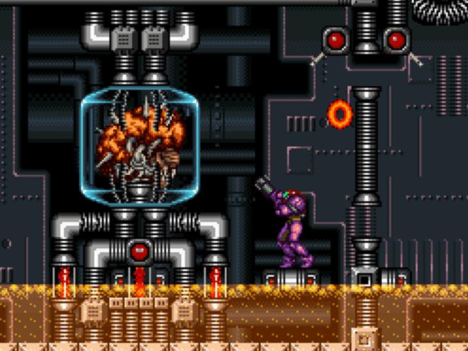 Samus facing Mother Brain in Super Metroid