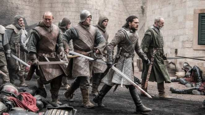 "Jon Snow leads his army through the burning streets of King's Landing in Game of Thrones ""The Bells"""